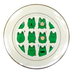 Animals Frog Green Face Mask Smile Cry Cute Porcelain Plates by Mariart