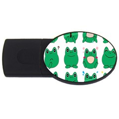 Animals Frog Green Face Mask Smile Cry Cute Usb Flash Drive Oval (4 Gb)