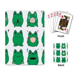Animals Frog Green Face Mask Smile Cry Cute Playing Card by Mariart