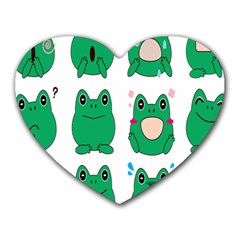 Animals Frog Green Face Mask Smile Cry Cute Heart Mousepads by Mariart