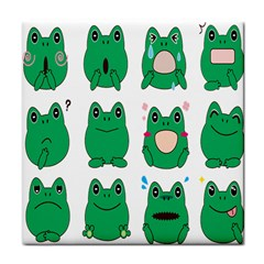 Animals Frog Green Face Mask Smile Cry Cute Face Towel by Mariart