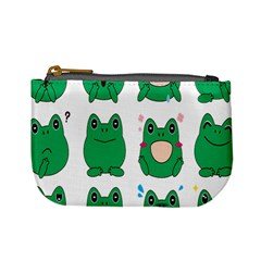 Animals Frog Green Face Mask Smile Cry Cute Mini Coin Purses