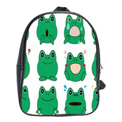 Animals Frog Green Face Mask Smile Cry Cute School Bags(large)
