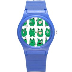 Animals Frog Green Face Mask Smile Cry Cute Round Plastic Sport Watch (s) by Mariart