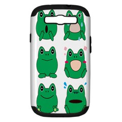 Animals Frog Green Face Mask Smile Cry Cute Samsung Galaxy S Iii Hardshell Case (pc+silicone)