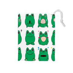 Animals Frog Green Face Mask Smile Cry Cute Drawstring Pouches (medium)  by Mariart