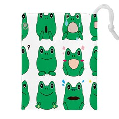 Animals Frog Green Face Mask Smile Cry Cute Drawstring Pouches (xxl) by Mariart