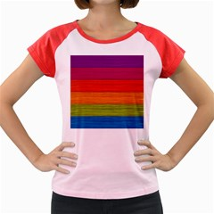 Wooden Plate Color Purple Red Orange Green Blue Women s Cap Sleeve T Shirt