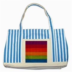 Wooden Plate Color Purple Red Orange Green Blue Striped Blue Tote Bag by Mariart