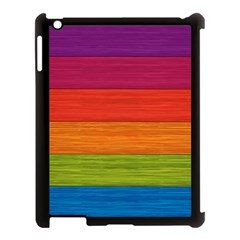 Wooden Plate Color Purple Red Orange Green Blue Apple Ipad 3/4 Case (black) by Mariart