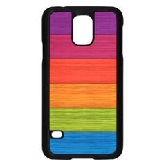 Wooden Plate Color Purple Red Orange Green Blue Samsung Galaxy S5 Case (black) by Mariart