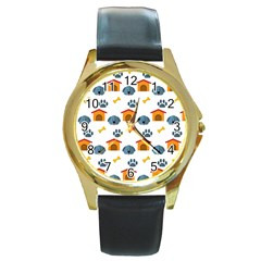 Bone House Face Dog Round Gold Metal Watch by Mariart