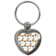 Bone House Face Dog Key Chains (heart)  by Mariart