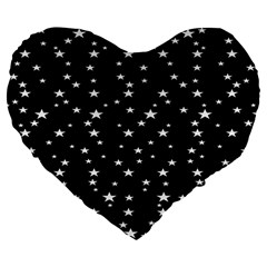 Black Star Space Large 19  Premium Flano Heart Shape Cushions by Mariart