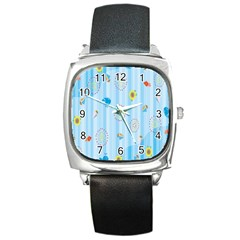 Animals Whale Sunflower Ship Flower Floral Sea Beach Blue Fish Square Metal Watch by Mariart