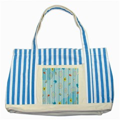 Animals Whale Sunflower Ship Flower Floral Sea Beach Blue Fish Striped Blue Tote Bag by Mariart