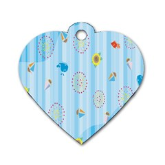 Animals Whale Sunflower Ship Flower Floral Sea Beach Blue Fish Dog Tag Heart (two Sides) by Mariart