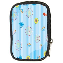 Animals Whale Sunflower Ship Flower Floral Sea Beach Blue Fish Compact Camera Cases