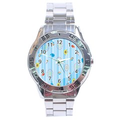 Animals Whale Sunflower Ship Flower Floral Sea Beach Blue Fish Stainless Steel Analogue Watch by Mariart