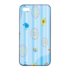 Animals Whale Sunflower Ship Flower Floral Sea Beach Blue Fish Apple Iphone 4/4s Seamless Case (black) by Mariart