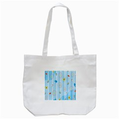 Animals Whale Sunflower Ship Flower Floral Sea Beach Blue Fish Tote Bag (white) by Mariart