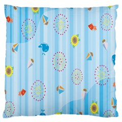 Animals Whale Sunflower Ship Flower Floral Sea Beach Blue Fish Standard Flano Cushion Case (two Sides)