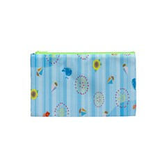 Animals Whale Sunflower Ship Flower Floral Sea Beach Blue Fish Cosmetic Bag (xs) by Mariart