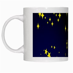 Blue Star Space Galaxy Light Night White Mugs by Mariart