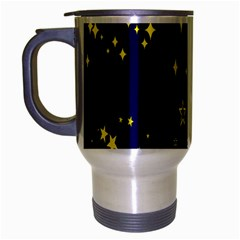 Blue Star Space Galaxy Light Night Travel Mug (silver Gray) by Mariart