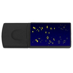 Blue Star Space Galaxy Light Night Usb Flash Drive Rectangular (4 Gb) by Mariart