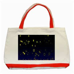 Blue Star Space Galaxy Light Night Classic Tote Bag (red) by Mariart