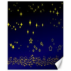 Blue Star Space Galaxy Light Night Canvas 11  X 14   by Mariart