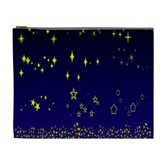 Blue Star Space Galaxy Light Night Cosmetic Bag (xl) by Mariart