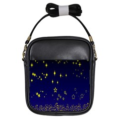 Blue Star Space Galaxy Light Night Girls Sling Bags by Mariart