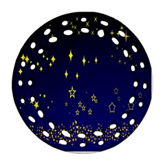 Blue Star Space Galaxy Light Night Ornament (round Filigree) by Mariart
