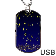 Blue Star Space Galaxy Light Night Dog Tag Usb Flash (one Side) by Mariart