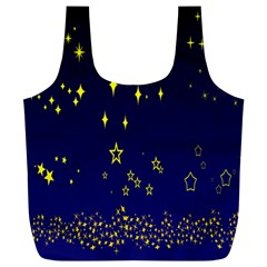 Blue Star Space Galaxy Light Night Full Print Recycle Bags (l)