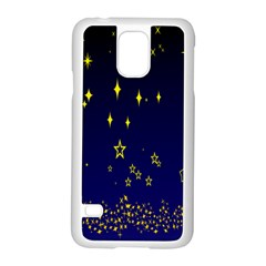 Blue Star Space Galaxy Light Night Samsung Galaxy S5 Case (white) by Mariart