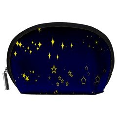 Blue Star Space Galaxy Light Night Accessory Pouches (large)  by Mariart