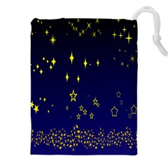 Blue Star Space Galaxy Light Night Drawstring Pouches (xxl) by Mariart