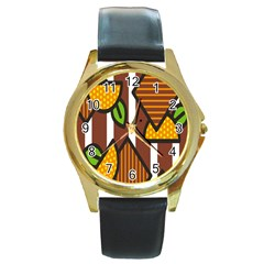 Chocolate Lime Brown Circle Line Plaid Polka Dot Orange Green White Round Gold Metal Watch by Mariart