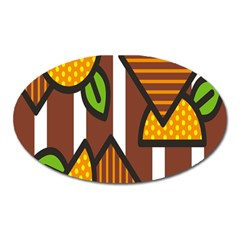 Chocolate Lime Brown Circle Line Plaid Polka Dot Orange Green White Oval Magnet by Mariart