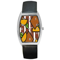 Chocolate Lime Brown Circle Line Plaid Polka Dot Orange Green White Barrel Style Metal Watch by Mariart