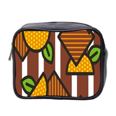 Chocolate Lime Brown Circle Line Plaid Polka Dot Orange Green White Mini Toiletries Bag 2 Side by Mariart