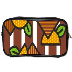 Chocolate Lime Brown Circle Line Plaid Polka Dot Orange Green White Toiletries Bags by Mariart