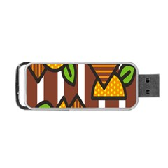 Chocolate Lime Brown Circle Line Plaid Polka Dot Orange Green White Portable Usb Flash (two Sides) by Mariart
