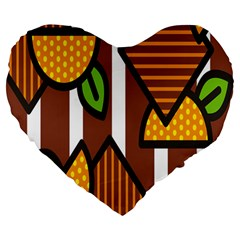 Chocolate Lime Brown Circle Line Plaid Polka Dot Orange Green White Large 19  Premium Heart Shape Cushions by Mariart