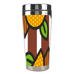 Chocolate Lime Brown Circle Line Plaid Polka Dot Orange Green White Stainless Steel Travel Tumblers by Mariart