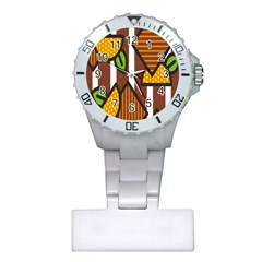 Chocolate Lime Brown Circle Line Plaid Polka Dot Orange Green White Plastic Nurses Watch by Mariart