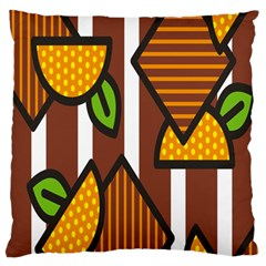 Chocolate Lime Brown Circle Line Plaid Polka Dot Orange Green White Large Flano Cushion Case (one Side) by Mariart